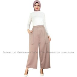 Celana Kulot Muslimah Warna Coklat Susu Bahan Scuba Tampak Depan