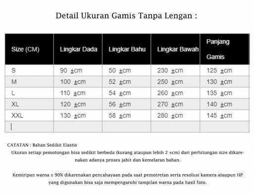 Detail Ukuran Gamis Tanpa Lengan