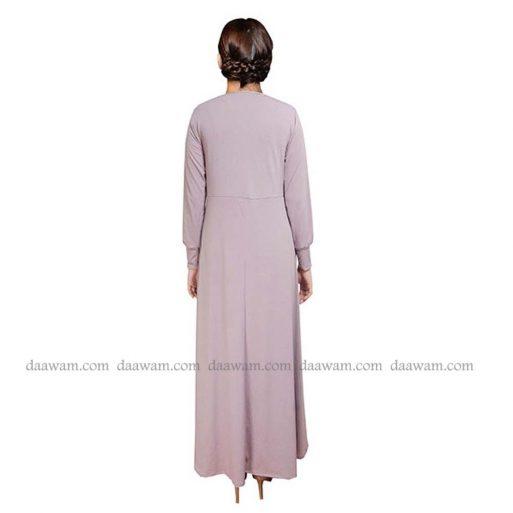 Gamis Jersey Polos Warna Lavender Tampak Belakang