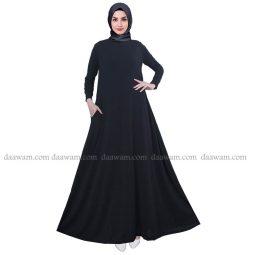 Gamis Payung Polos Bahan Jersey Ori Warna Hitam Tampak Depan Hijab
