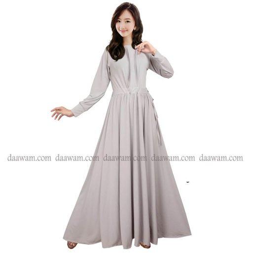Gamis Serut Tali Pinggang Bahan Jersey Korea Ori Warna Silver Tampak Depan