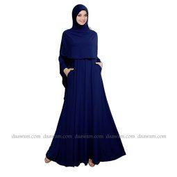 Gamis Syari Polos Set Hijab Warna Navy Daawam Tampak Depan