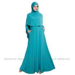 Gamis Syari Polos Set Hijab Warna Tosca Tua Daawam Tampak Depan