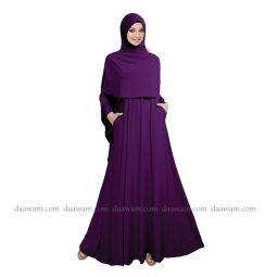 Gamis Syari Polos Set Hijab Warna Ungu Tua Daawam Tampak Belakang