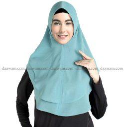 Jilbab Instan Khimar Ceruti Polos Warna Hijau Wardah Tampak depan