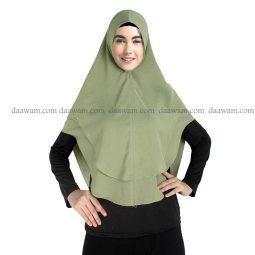 Hijab Khimar Ceruti Polos Warna Hijau Hansip Tampak Depan