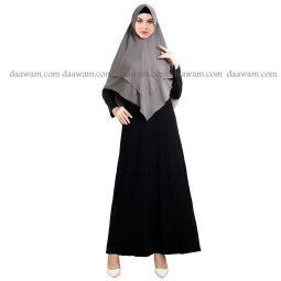 Hijab Khimar Pet Warna Abu Tampak Depan
