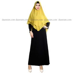Hijab Khimar Pet Warna Kuning Tampak Depan