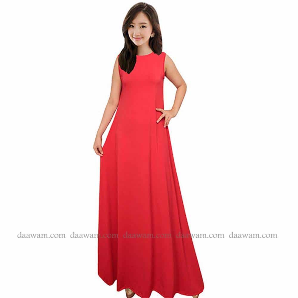 Gamis Tanpa Lengan Warna Merah Cabe Tampak Depan