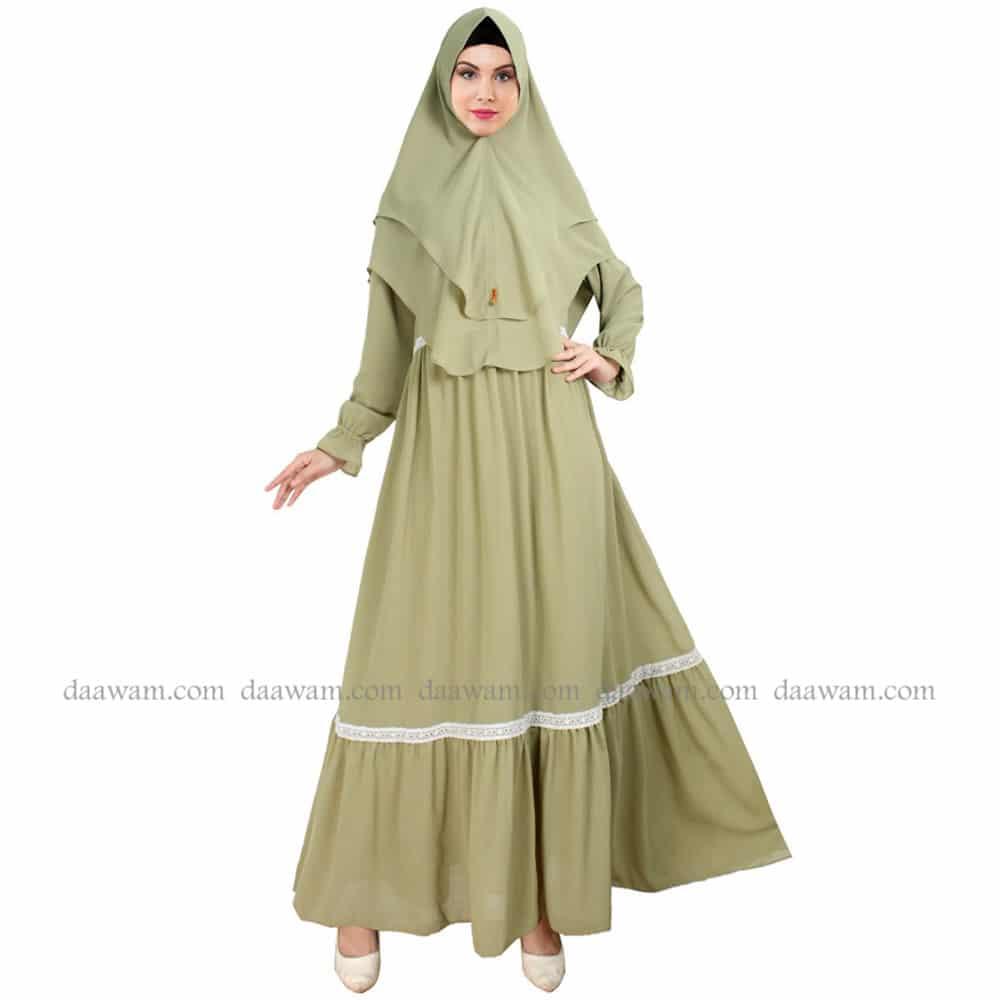 Grosir Gamis Syari Set Jilbab Bahan Ceruti Polos Daawam