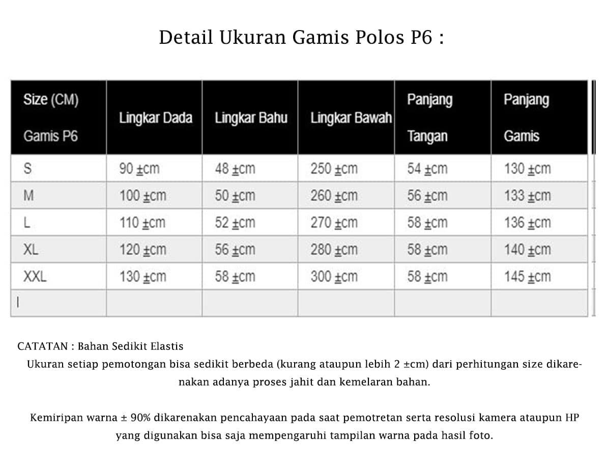 Detail Ukuran Gamis Polos P6