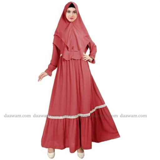 Gamis Ceruty Babydoll Syari Hijab 2 Layer Lengkap Ukuran S M L XL XXL Warna Peach Tampak Depan