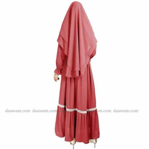 Gamis Ceruty Babydoll Syari Hijab 2 Layer Warna Peach Tampak belakang