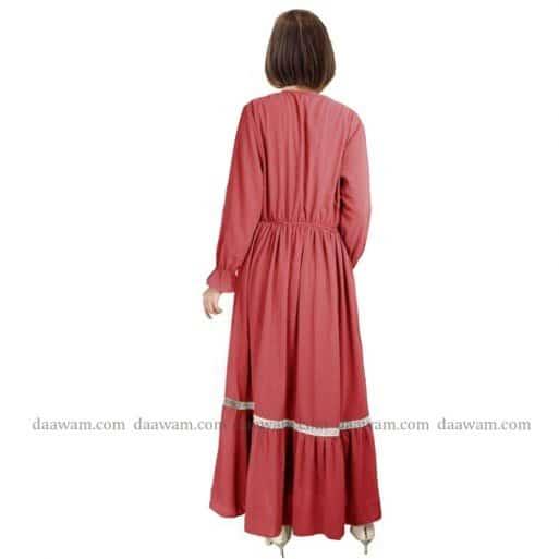 Gamis Ceruty Babydoll Syari Hijab 2 Layer Warna Peach Tampak samping tanpa belakang