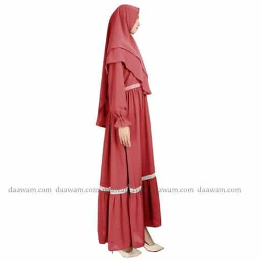 Gamis Ceruty Babydoll Syari Hijab 2 Layer Warna Peach Tampak samping