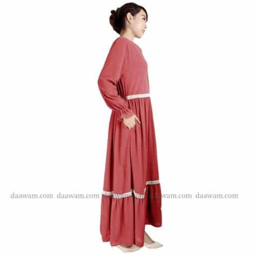 Gamis Ceruty Babydoll Syari Hijab 2 Layer Warna Peach Tampak samping tanpa kerudung